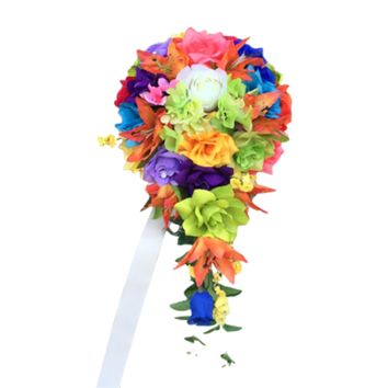 Rainbow Teardrop Cascade Bouquet - Colorful Quality Silk Flower Bouquet with Roses, Hydrangeas, and Lilies