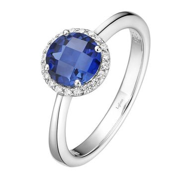 Lafonn Lab Grown Sapphire and Simulated Diamond Halo Birthstone Ring