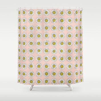 Lazy Daisy Pattern | Gold/Peach Shower Curtain by Marie Gardeski