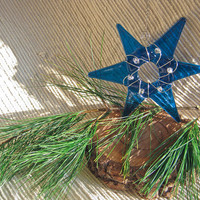 Fairy Star - Glass Star Ornament or Star of David - Deep Aqua Blue with clear accent beads