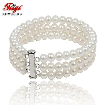 Feige 6-7mm Oval White Natural Freshwater Cultured Pearl Bracelets Good Gifts For Friends Female Bracelet Pearl Jewelry