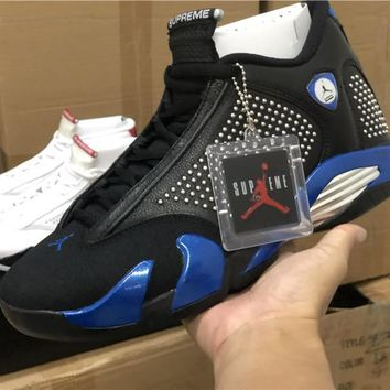 Supreme x Air Jordan 14 Black Varsity Royal-Chrome - Best Deal Online