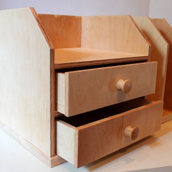 Handcrafted Office Organizer with 2 Drawers, 2 Mail Slots, Kitchen Organizer, by MrsKristenCreations on Etsy