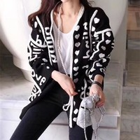 """Gucci"" Women Loose Fashion Heart-shaped Letter Knit Long Sleeve Cardigan Sweater Coat"