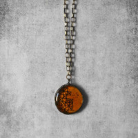 Orange necklace, urban jewelry, geometric pendant, unique finds, handmade jewelry, long necklace, gift ideas, for her, silver necklace, boho