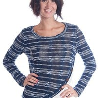 Lime & Chili Striped Ruffle Trim Knit Top - Navy