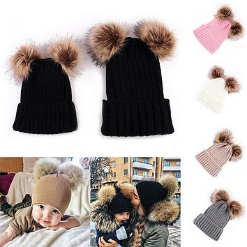 DARCHROW Cute Winter Mom Women Baby Kids Crochet Knitted Hat Caps Children Girl Boy Wool Fur Bobble Ball Pompom Beanies Hats