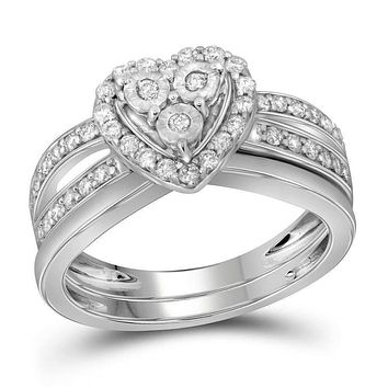 10kt White Gold Women's Diamond Heart Bridal Wedding Engagement Ring Band Set 3/4 Cttw - FREE Shipping (US/CAN)
