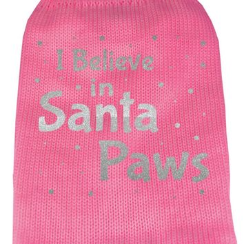 I Believe In Santa Paws Screen Print Knit Pet Sweater Xxl Pink