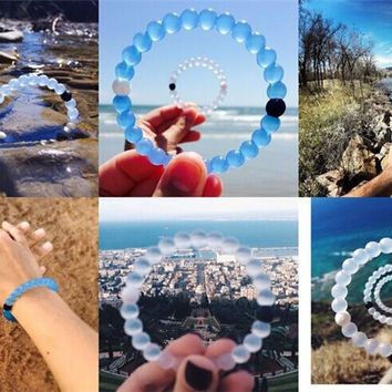 12 Color 2016 New arrival Hot Summer Style Simulated-pearl Transparent Silicone Strand Bracelet Beach Bangles valentine's day