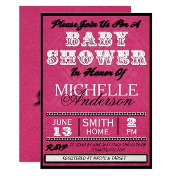 OH BABY! Pink/Black HD BABY SHOWER INVITATIONS