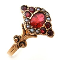 Victorian Ruby and Seed Pearl Ring Size 7.5