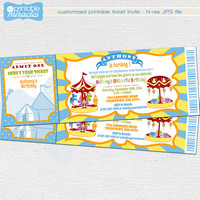 Amusement park ticket invitation, Carnival birthday party invite for kids, Colorful birthday invitation and thank you card