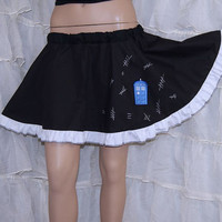 Dr Who Tardis Hash Mark Black Circle Skirt Adult ALL Sizes - MTCoffinz