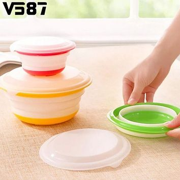 3Pcs/Set Silicone Collapsible Storage Bowls Dish Lids Stackable Food Meal Prep Containers Home Office Portable Dinnerware Set