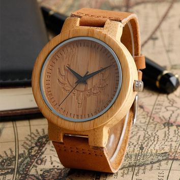 Etched Wood Watch with Leather Band
