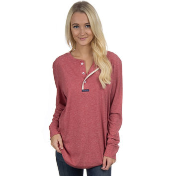 Long Sleeve Boyfriend Tee in Heathered Red by Lauren James