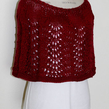 Knit Shrug / Bolero / Wrap / Summer Shawl - Misses - Women - Burgundy