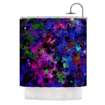 "Ebi Emporium ""Color Me Floral"" Celestial Blue Shower Curtain"