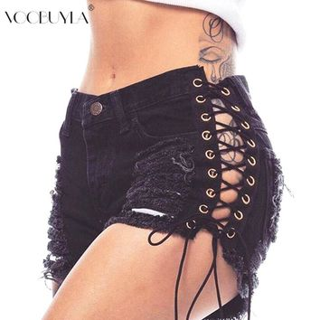 Voobuyla Summer Women Hot Style Sexy Cross Bandage Shorts hole Punk Denim Shorts Tassel Elastic Lace Up Short Jean plus size 3XL