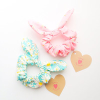 Pretty Cute Bunny Bow Hair Scrunchie Chou Chou happy flower garden :) Spring Summer collection by Love Factory