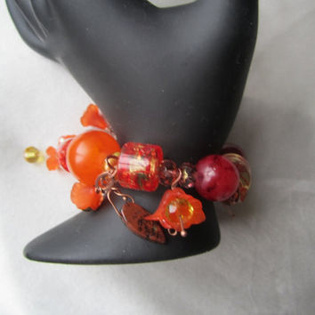 Tangerine and Orange Floral Bracelet