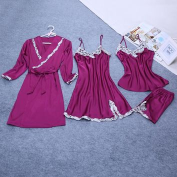 4 Pieces ladies Sexy Silk Satin Robe Set Sleepwear Sets Include Robe+Nightdress+Top+Pant Embroidery Nightwear Homewear For Women