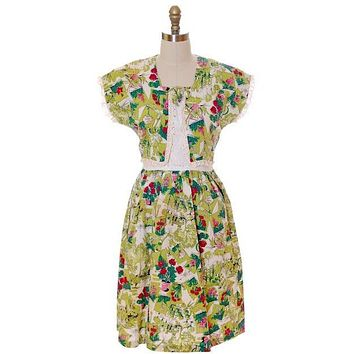 Vintage Printed Seersucker Dress Billie Barnes Original 1940s CUTE!