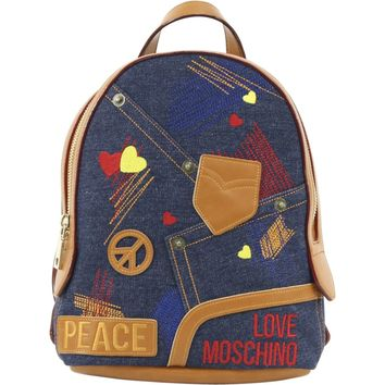 Love Moschino Women's Patched & Embroidered Cognac/Denim Backpack (Size: One Size, Color: Cognac/Denim)