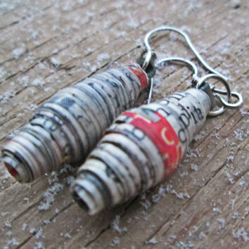 Upcycled, recycled, repurposed Paper bead earrings - Paper jewelry - Newspaper earrings - Eco jewelry - Black. white, and red