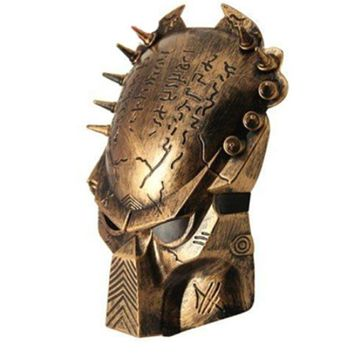 Golden Alien vs Predator Warrior Wolf Mask AVPR Costume Mask Replica Masquerade Mask Halloween Party Cosplay Prop Face Mask