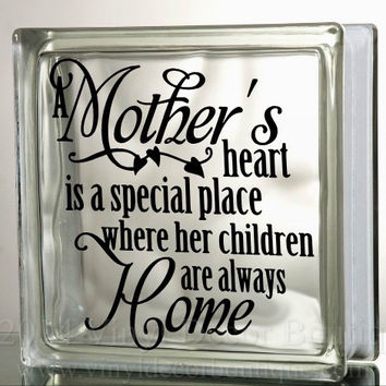 A Mother's Heart Love Glass Block Decal Tile Mirrors DIY Decal for Glass Blocks A Mother's Heart