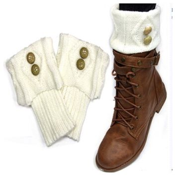 Cute Dual Button Vintage Ivory Boot Topper, Boot Cuff, Women's Accessories