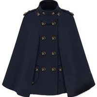 Star Stalker Double-breasted Dark Blue Cape - Sheinside.com