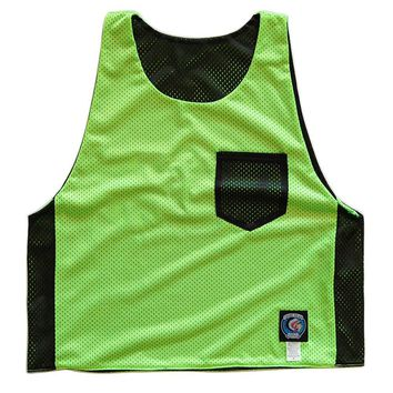 Neon Green and Black Pocket Reversible Lacrosse Pinnie