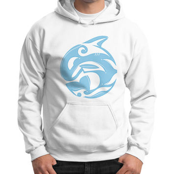 Tribal Killer Whale Tattoo in Blue Gildan Hoodie (on man)