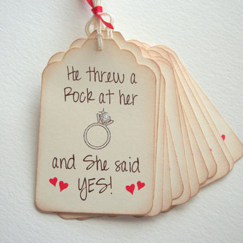 She Said YES Tags - Bridal Shower - Wedding - Engagement - Set of 12