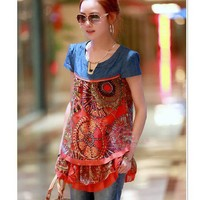 Retro Lace Decorated Denim Chiffon Splicing Female T Shirt As The Picture, Buy Retro Lace Decorated Denim Chiffon Splicing Female T Shirt As The Picture with cheapest price|wholesale-dress.net