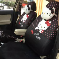 Cute Polka Dots Print Car Seat Covers for Women Girls Car Styling Cartoon Hello Kitty Universal Seat Cover Accessories - Black