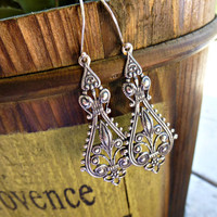 Silver Filigree Earrings, Small Dan.. on Luulla