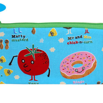 NEW Food Pencil Case | Foodie Pencil Holder | Zippered Pouch | Zipper Bag | Notions Bag