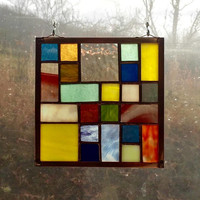"Stained Glass Quilt Square 6"" Random Pattern Appalachian Handmade Stained Glass Quilt Multi-Colored"