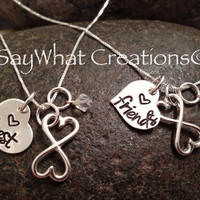 Custom Hand Stamped Sterling Silver Best Friends Infinity Necklaces SET OF TWO