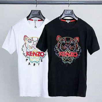 Kenzo Summer Fashion New Bust Embroidery Letter Tiger Women Men Top T-Shirt