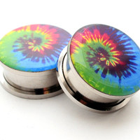 Screw On Plugs - Tie Dye Picture Plugs gauges - 16g, 14g, 12g, 10g, 8g, 6g, 4g, 2g, 0g, 00g, 7/16, 1/2, 9/16, 5/8, 3/4, 7/8, 1 inch