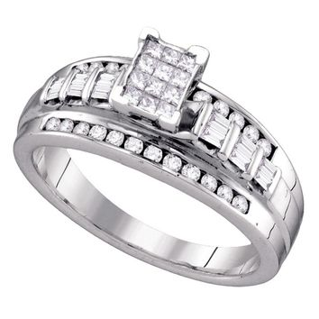 Sterling Silver Womens Princess Diamond Cluster Bridal Wedding Engagement Ring 1/2 Cttw - Size 9