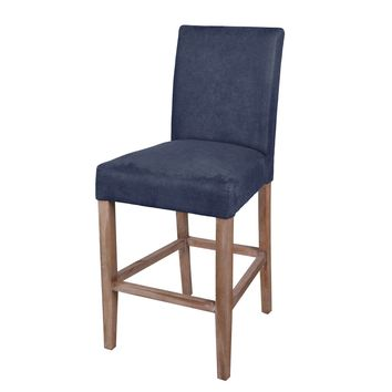 Hartford Fabric Counter Stool Brushed Smoke Legs, Denim Slate Blue