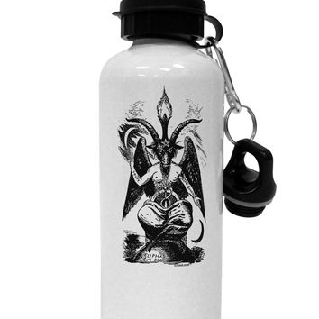 Baphomet Illustration Aluminum 600ml Water Bottle by TooLoud