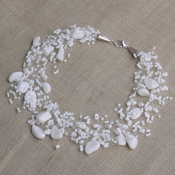 Wedding Necklace. White Necklace. Multistrand Necklace. Beadwork.