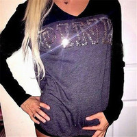 Spring Autumn Sexy Sequined V Neck Women T Shirt Punk Long Sleeve Top Tees Casual Slim Fitted Shirts Blusas Feminina camiseta